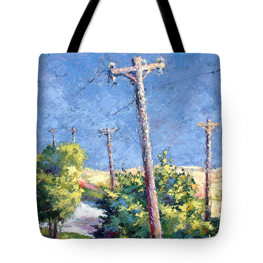 Landscape Painting Tote Bag featuring the painting Telephone Poles Before The Rain by Lewis Bowman