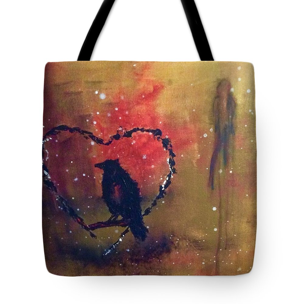 Abstract Tote Bag featuring the painting Telltale Heart by Mary Papageorgiou