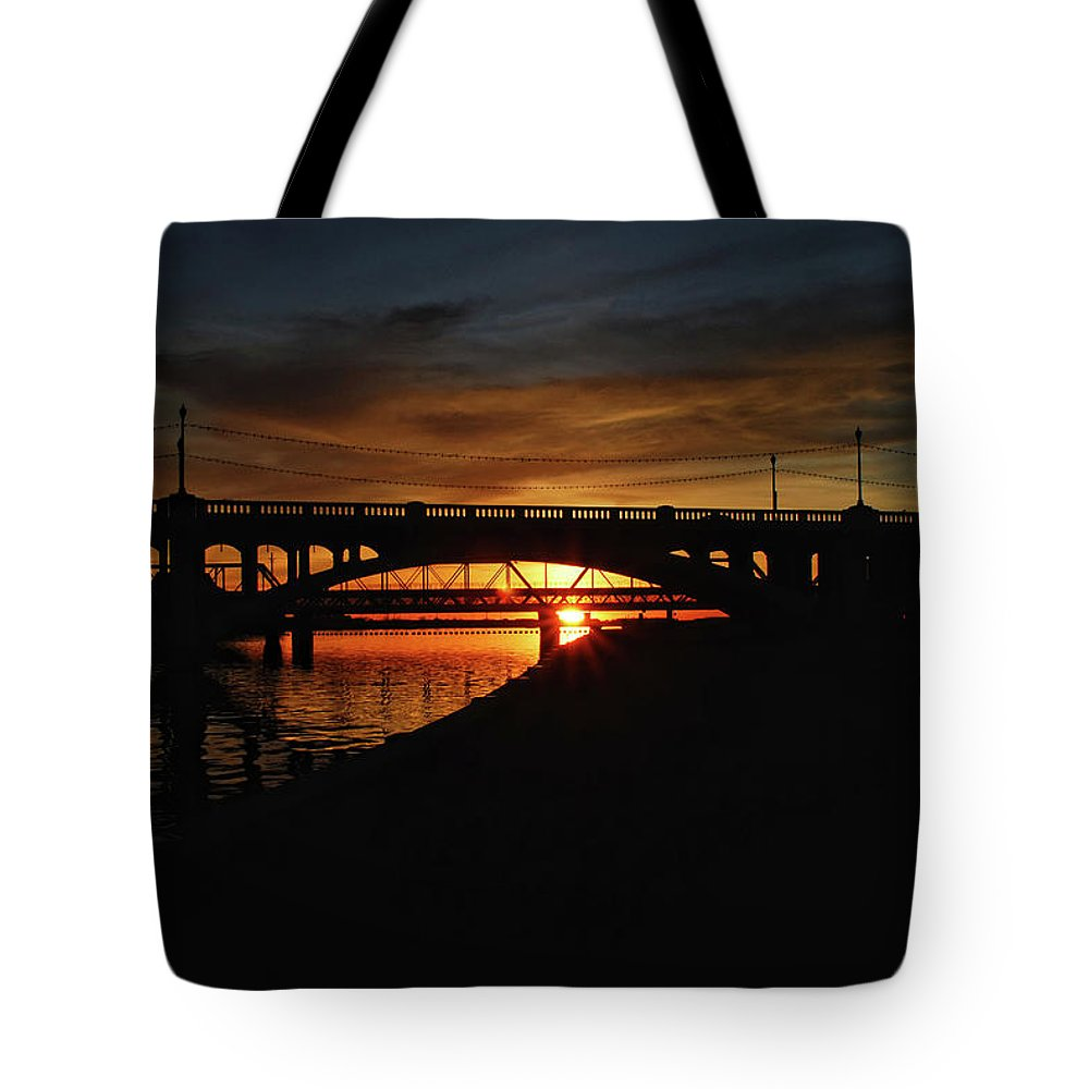 Arizona Tote Bag featuring the photograph Tempe Bridge Sunset by Saija Lehtonen
