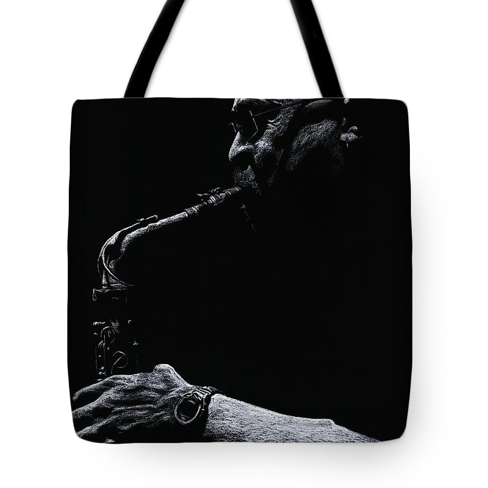 Musician Tote Bag featuring the pastel Temperate Sax by Richard Young