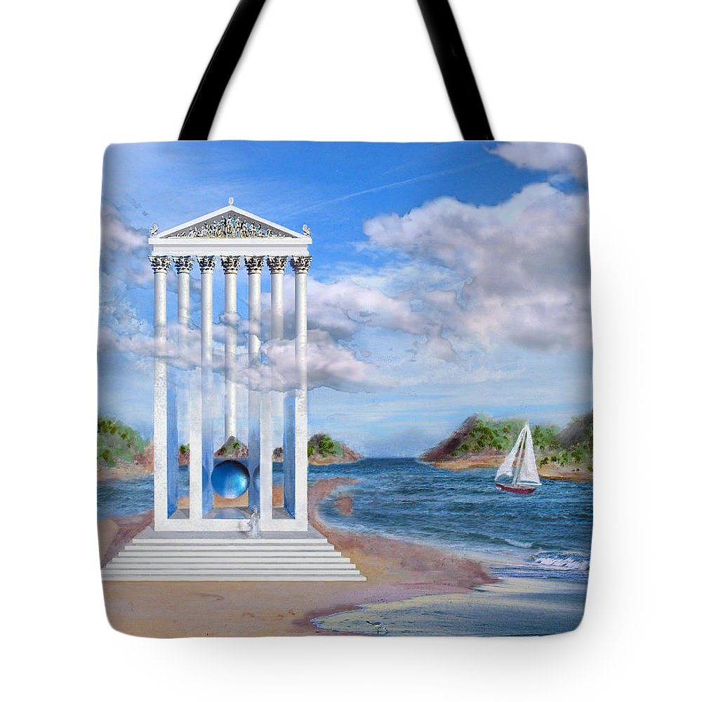Landscape Tote Bag featuring the painting Temple for No One by Steve Karol