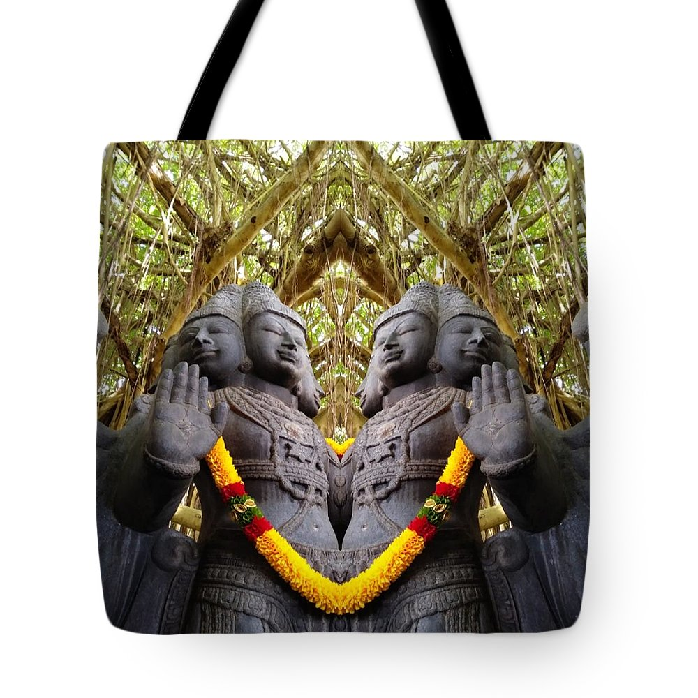 Abstract Tote Bag featuring the photograph Temple God by Rick Frausto