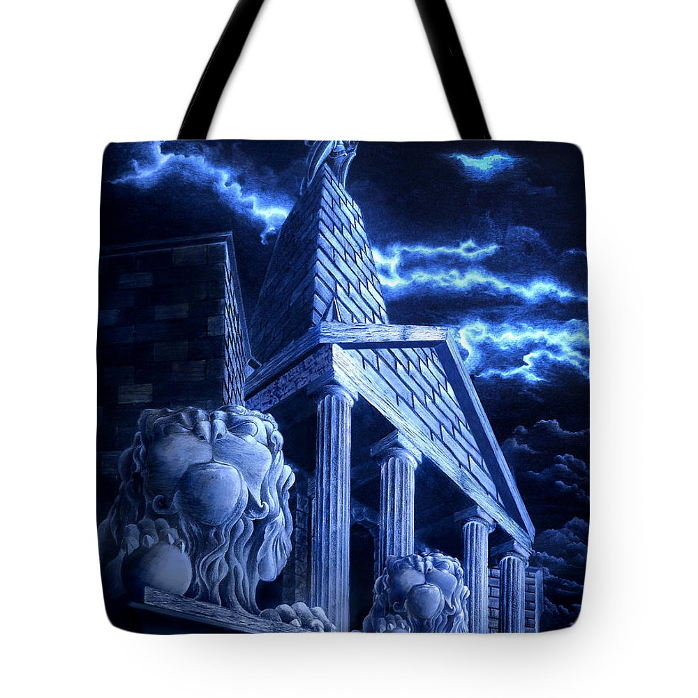 Hercules Tote Bag featuring the drawing Temple Of Hercules In Kassel by Curtiss Shaffer