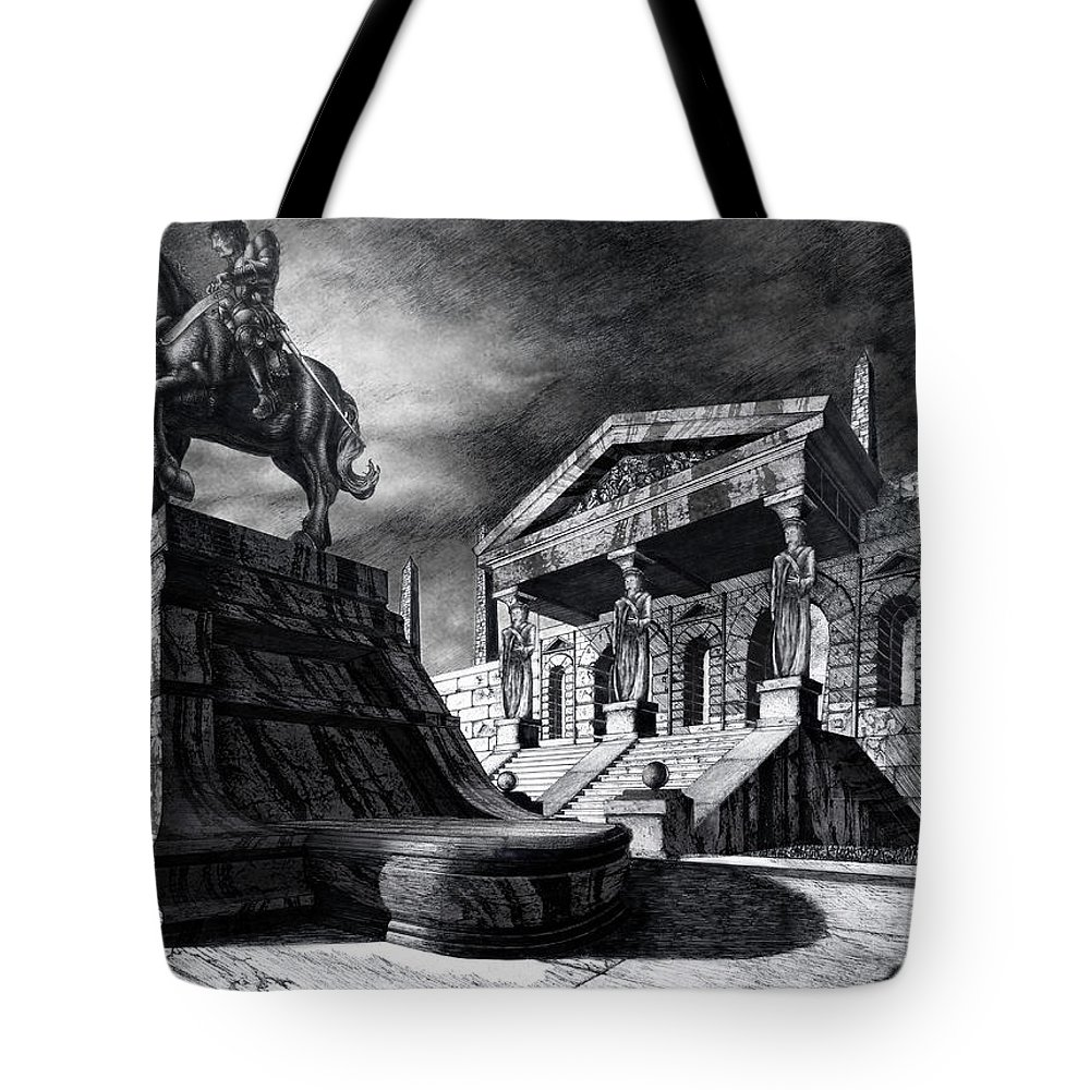Greek Architecture Tote Bag featuring the drawing Temple Of Perseus by Curtiss Shaffer