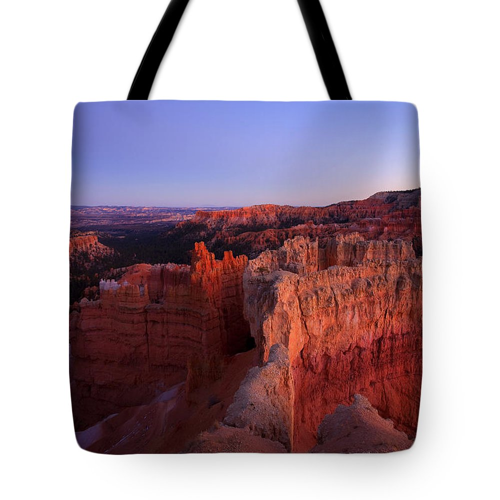 Hoodoo Tote Bag featuring the photograph Temple of the setting sun by Mike Dawson