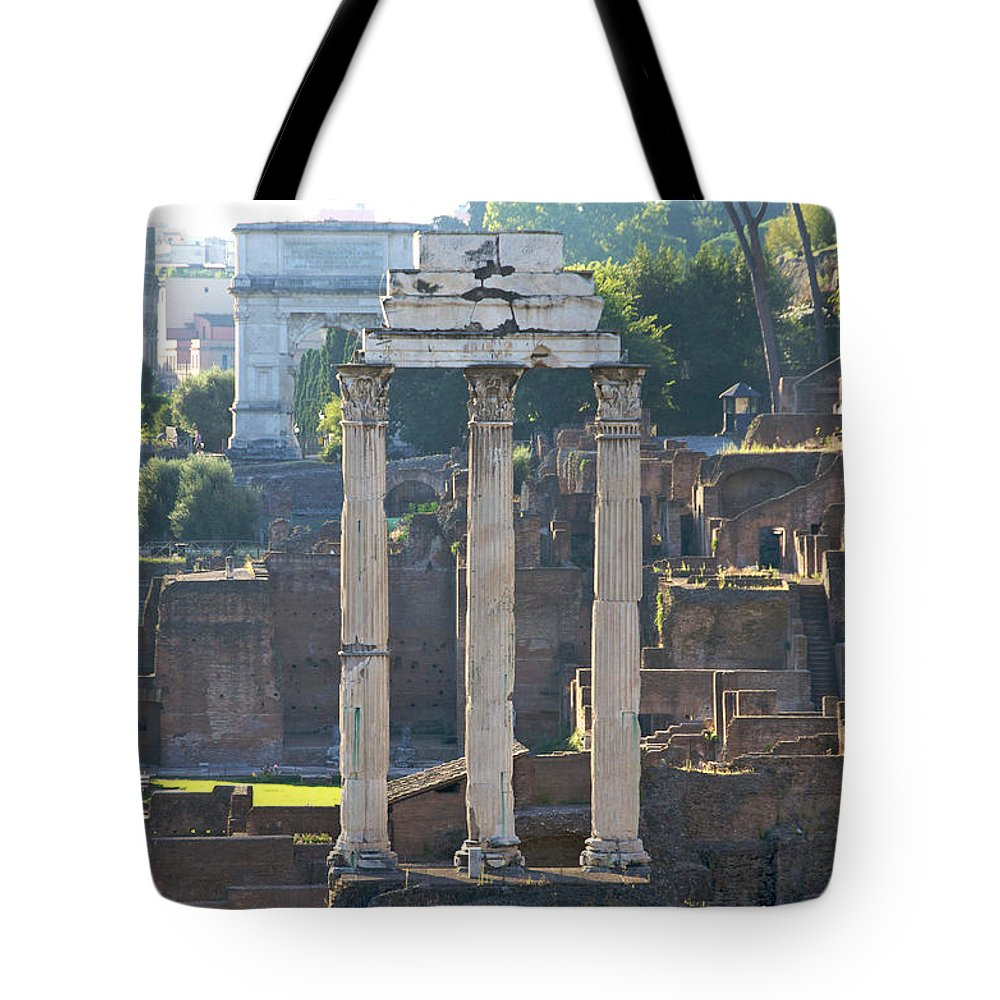 Worth Tote Bag featuring the photograph Temple Of Vesta Arch Of Titus. Temple Of Castor And Pollux. Forum Romanum by Bernard Jaubert