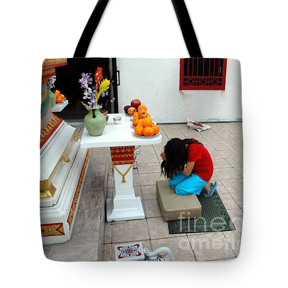 Child Tote Bag featuring the photograph Temple Prayer by Michael Ziegler