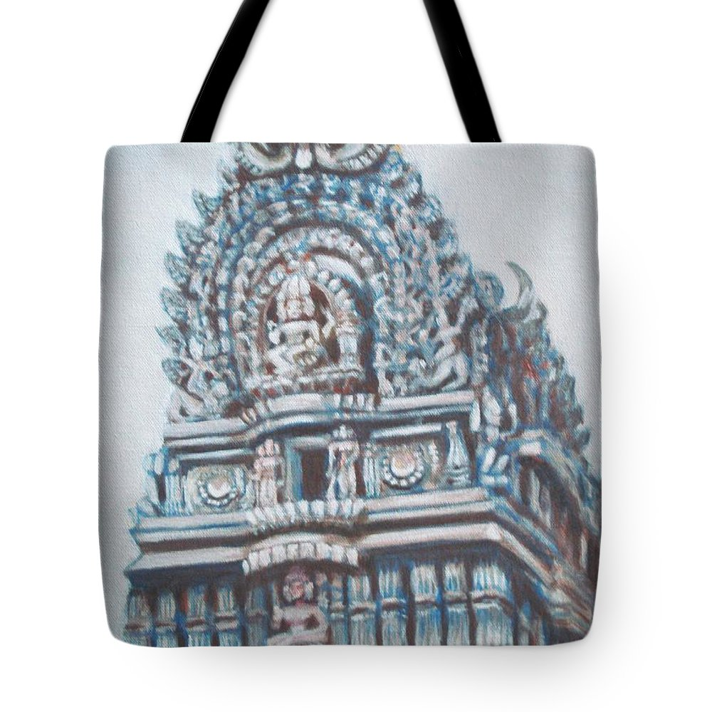 Temple Tote Bag featuring the painting Temple by Usha Shantharam