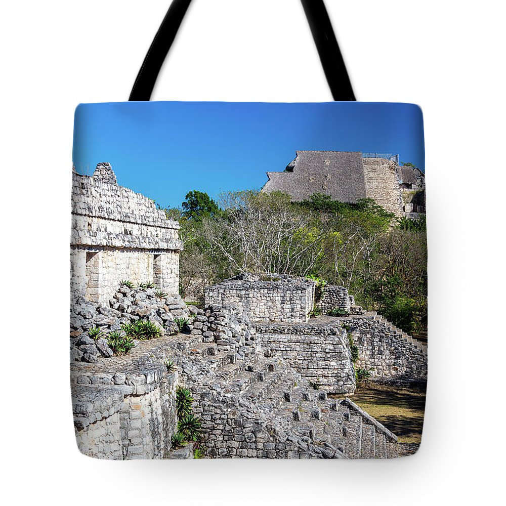 Balam Tote Bag featuring the photograph Temples In Ek Balam by Jess Kraft