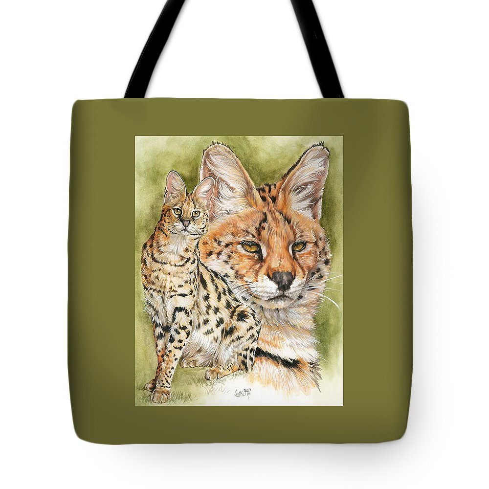 Serval Tote Bag featuring the mixed media Tempo by Barbara Keith