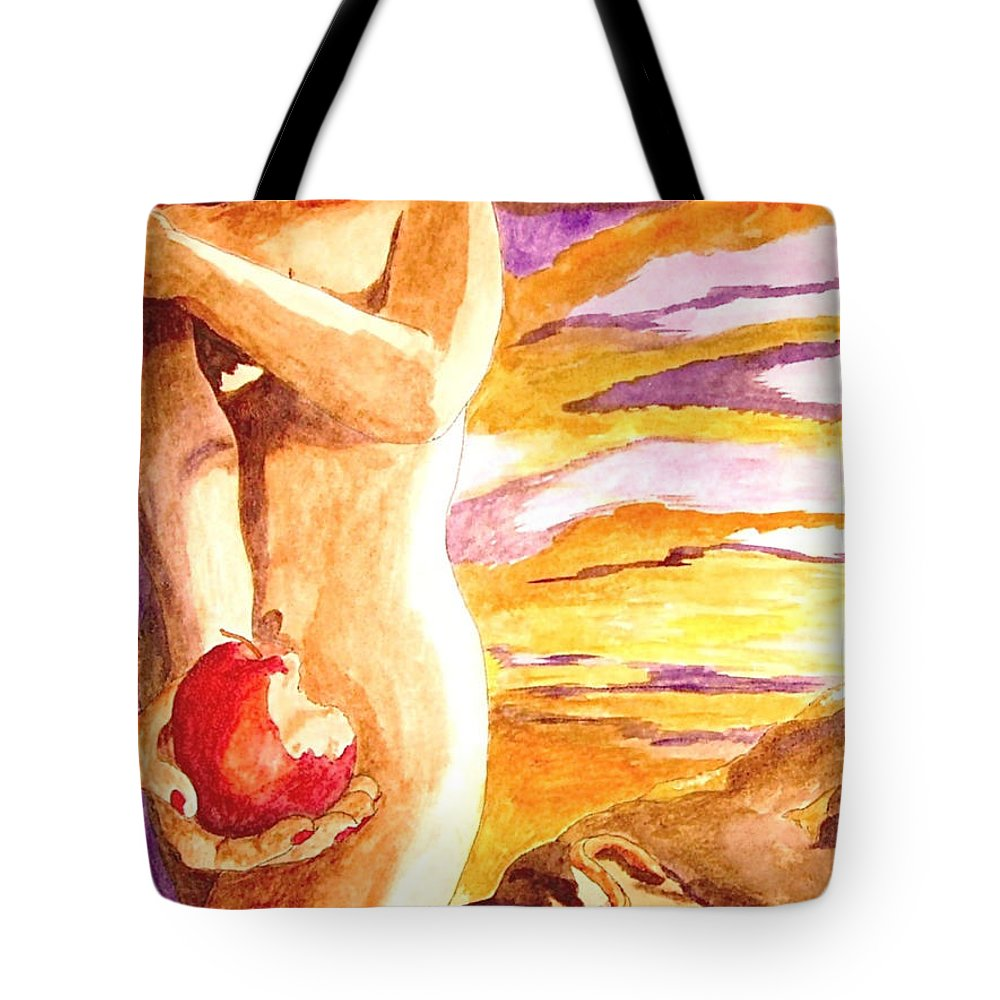 Watercolor Tote Bag featuring the painting Temptation by Herschel Fall