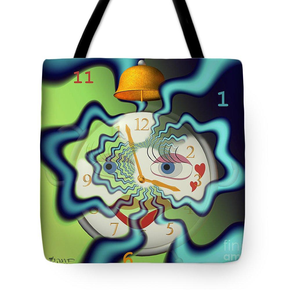 Fractal Tote Bag featuring the digital art Tempus Fugit by Jutta Maria Pusl