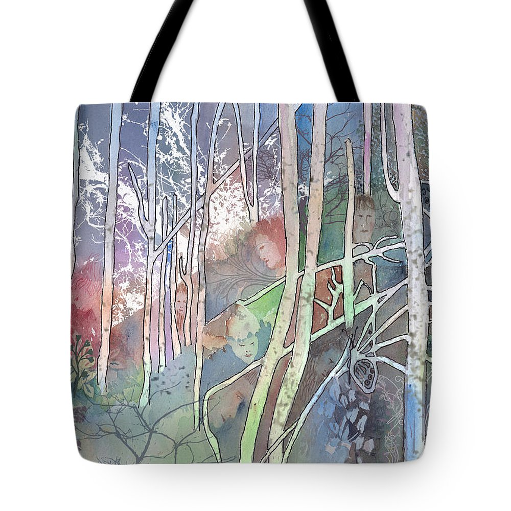 Forest Tote Bag featuring the mixed media Ten Faces In The Mystical Forest by Arline Wagner