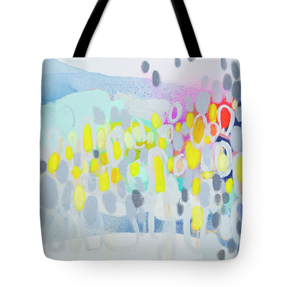 Abstract Tote Bag featuring the painting Ten O'clock Flight by Claire Desjardins