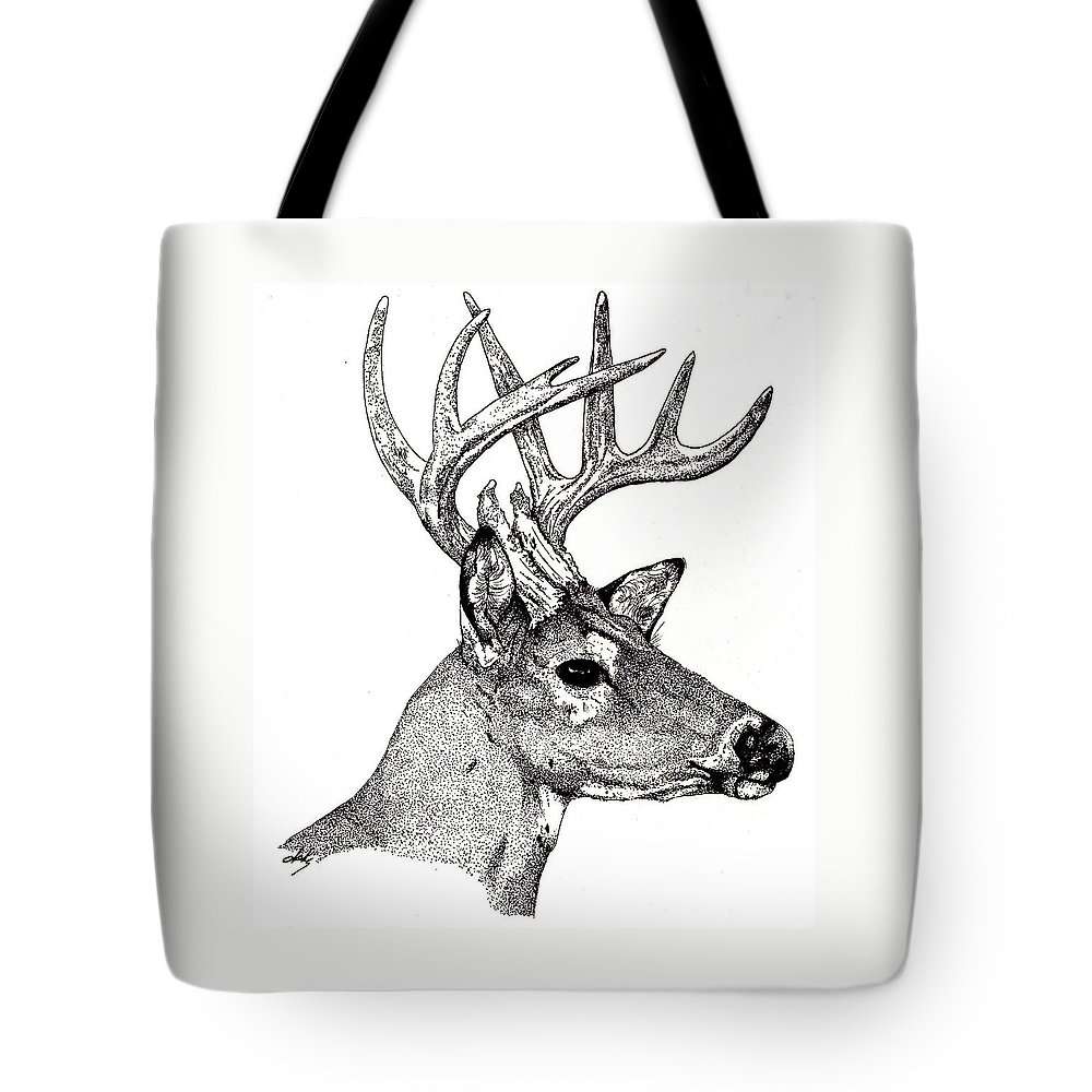 Deer Tote Bag featuring the drawing Ten Point Buck by Debra Sandstrom