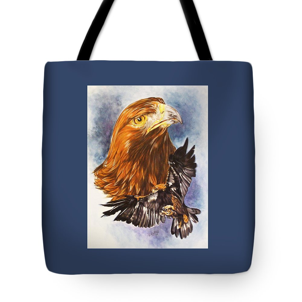 Eagle Tote Bag featuring the mixed media Tenacity by Barbara Keith