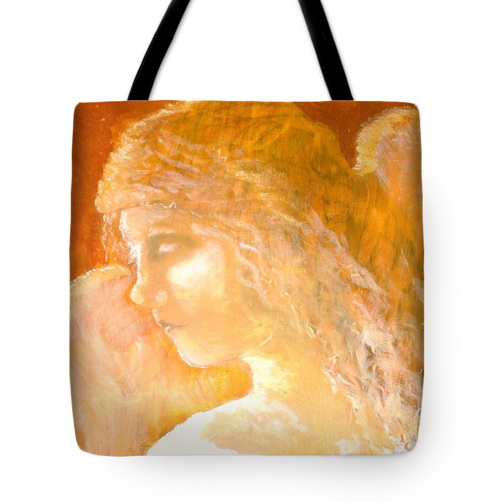 Angel Tote Bag featuring the painting Tender Mercy by J Bauer