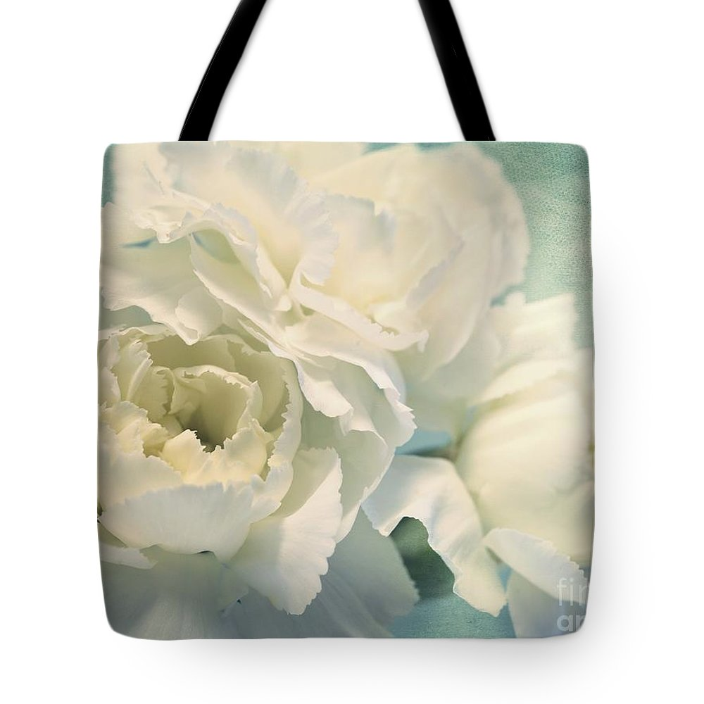 Carnation Tote Bag featuring the photograph Tenderly by Priska Wettstein