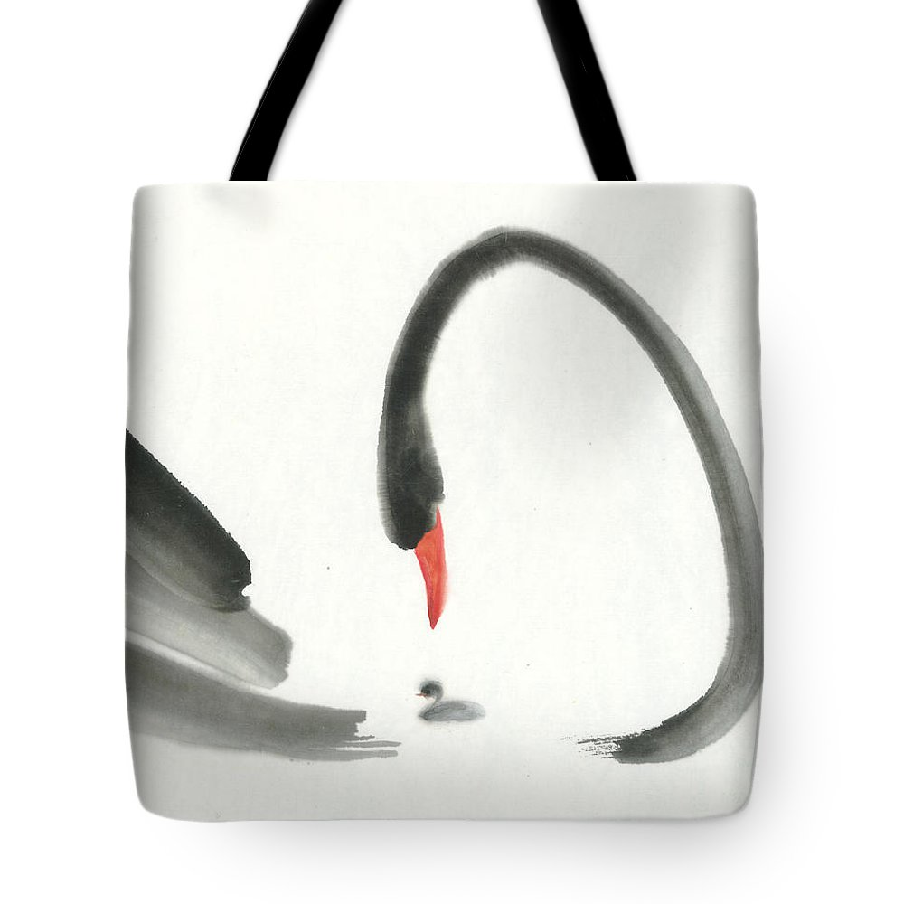 Mother Swan And Baby Swan Are Conversing With Tenderness. This Is An Asian Ink Brush Painting On Rice Paper With Free And Simple Brush Strokes. Tote Bag featuring the painting Tenderness I by Mui-Joo Wee