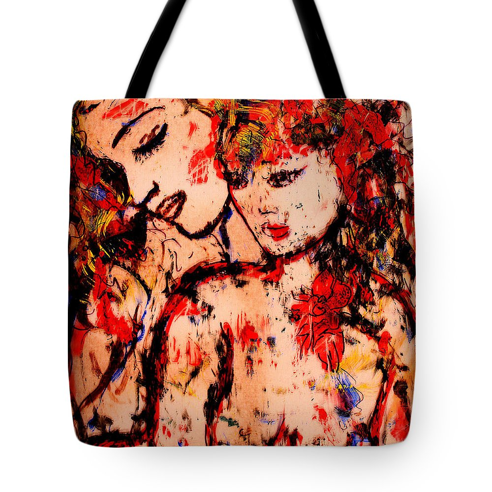 Expressionism Tote Bag featuring the mixed media Tenderness by Natalie Holland