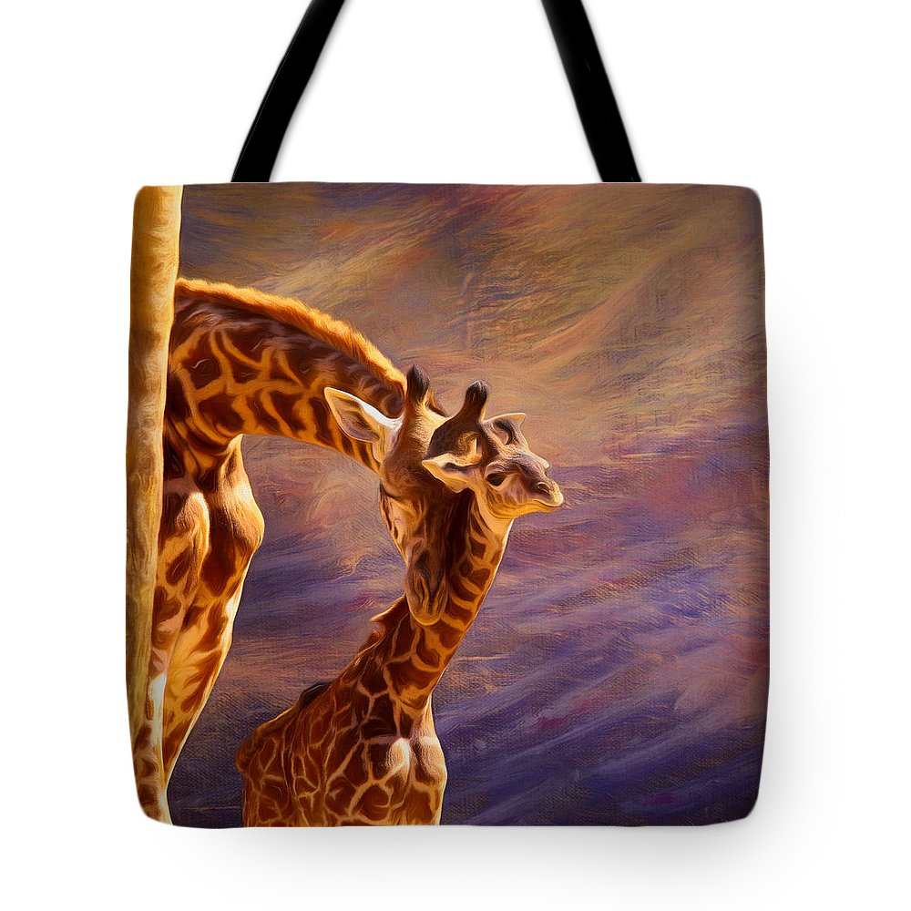 Giraffe Tote Bag featuring the mixed media Tenderness Painted by Judy Vincent