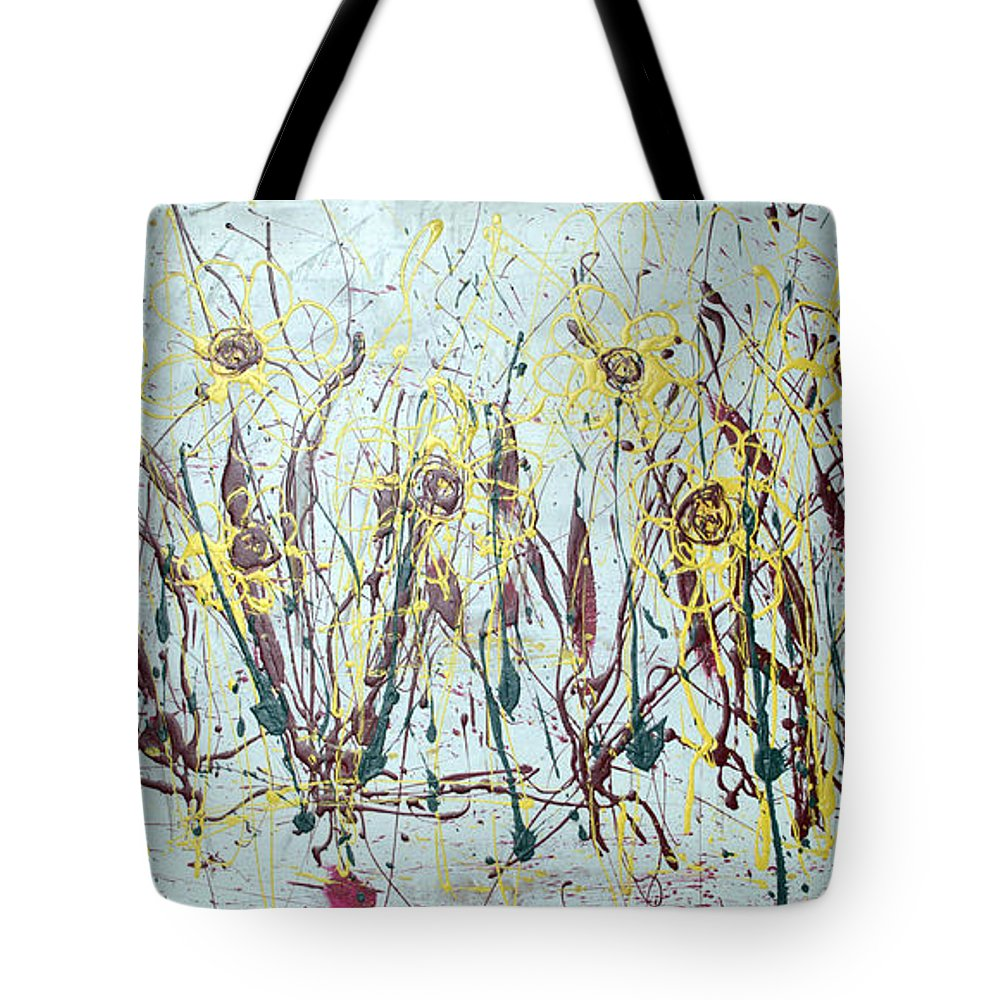 Flowers Tote Bag featuring the painting Tending My Garden by J R Seymour