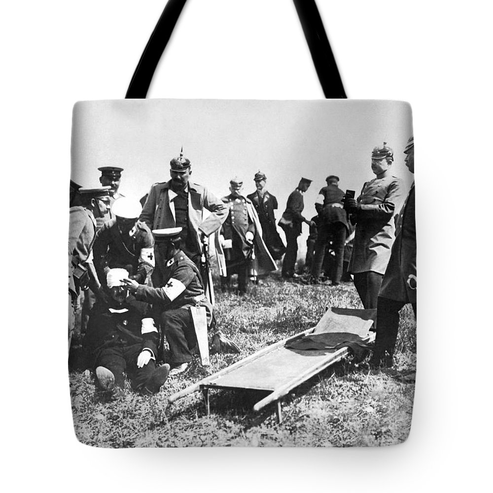1910s Tote Bag featuring the photograph Tending To The Wounded by Underwood Archives