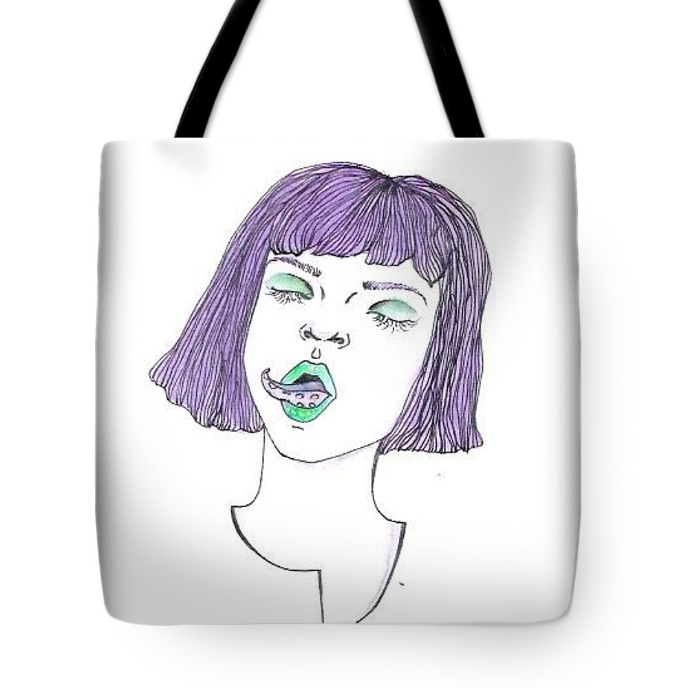 Green Purple Tentacle Girl Tote Bag featuring the drawing Tentatongue by Alyssa Torres