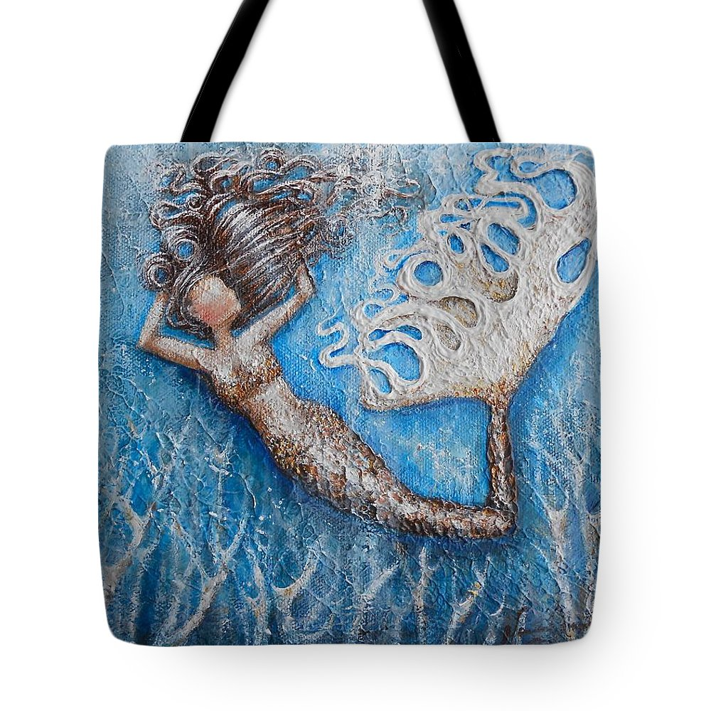 Mermaid Tote Bag featuring the painting Tera by Nancy Quiaoit