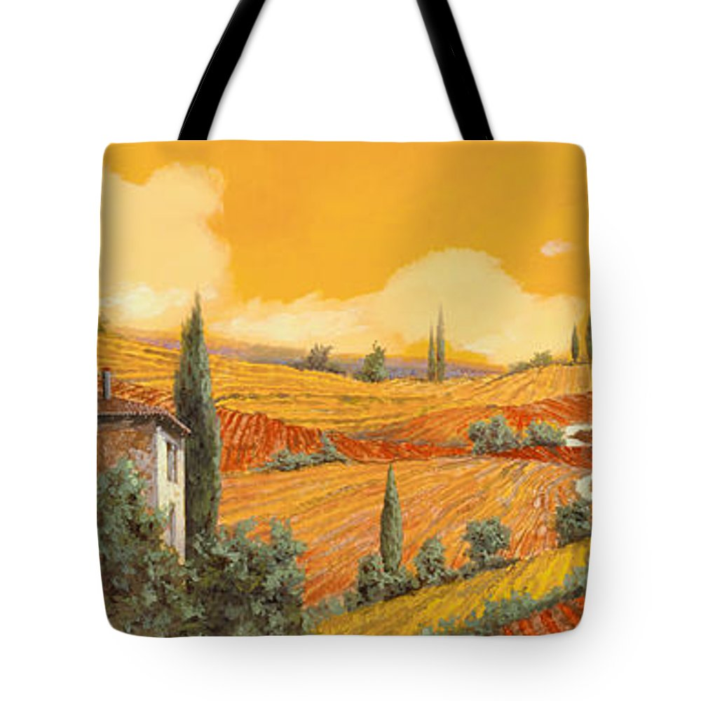 Tuscany Tote Bag featuring the painting terra di Siena by Guido Borelli