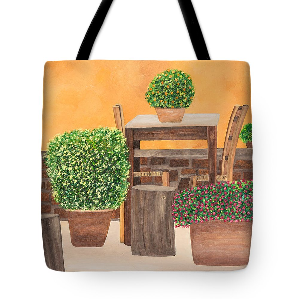 Italy Tote Bag featuring the painting Terrace In Tuscany by Sandra Lorant