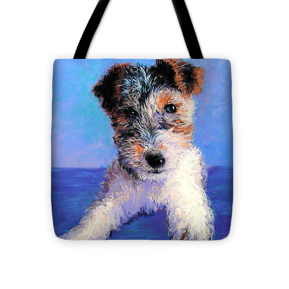 Dog Tote Bag featuring the painting Terrier by Lynee Sapere