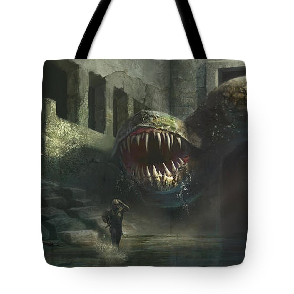 Giant Tote Bag featuring the painting Terror by Jonathan Hoekstra