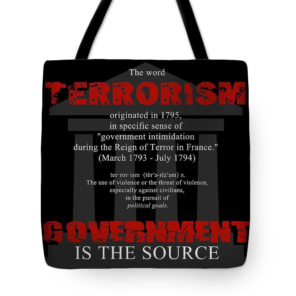 Nwo Tote Bag featuring the digital art Terrorism by Priscilla Vogelbacher
