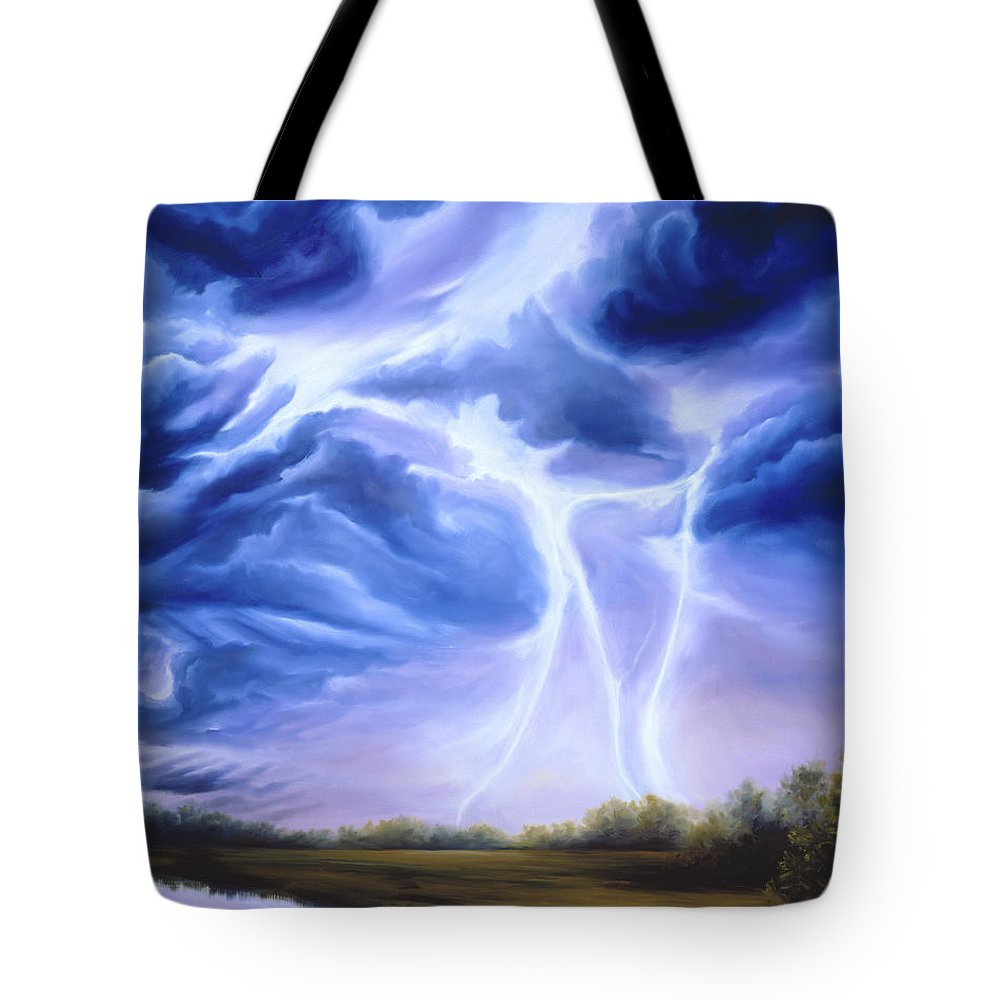 Marsh Tote Bag featuring the painting Tesla by James Christopher Hill