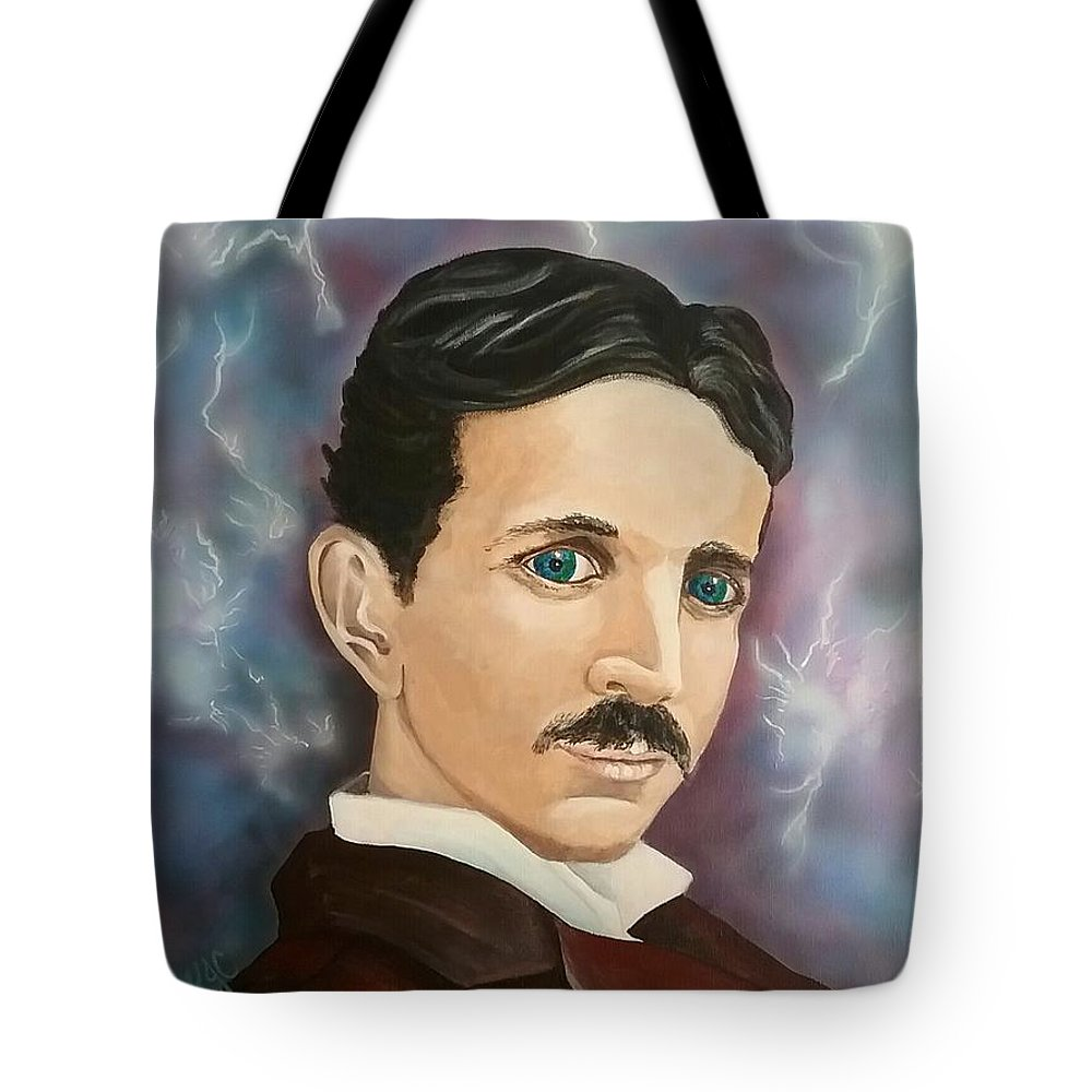 Tesla Tote Bag featuring the painting Tesla by Kelly Jean