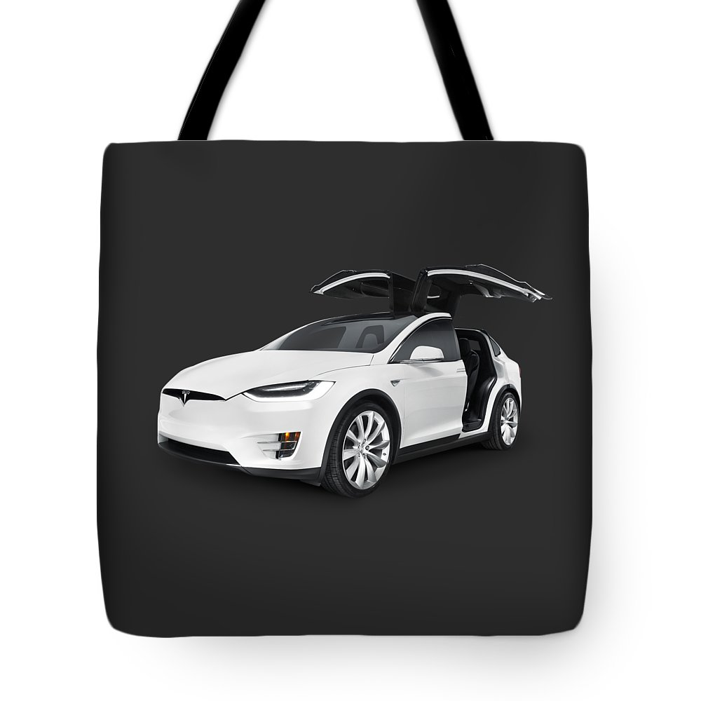 Tesla Tote Bag featuring the photograph Tesla Model X Luxury Suv Electric Car With Open Falcon-wing Doors Art Photo Print by Maxim Images Prints