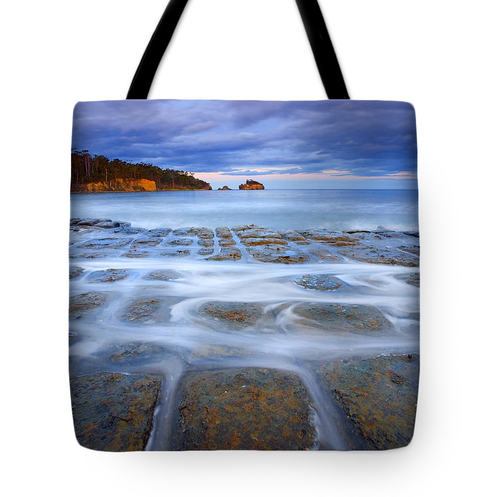 Sunset Tote Bag featuring the photograph Tesselated Sunset by Mike Dawson