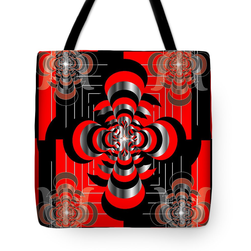 Geometric Tote Bag featuring the digital art Test Pattern 3 by George Pasini