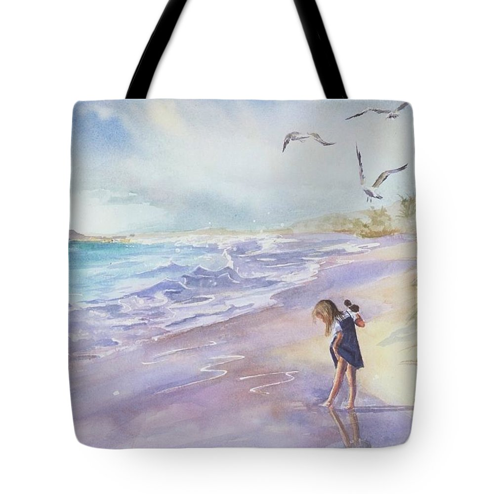 Seascape Tote Bag featuring the painting Testing The Waters by Laura Lee Zanghetti