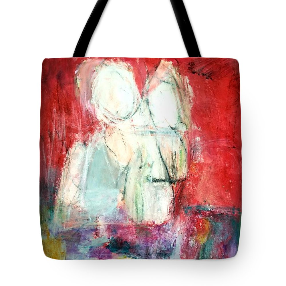 Red Tote Bag featuring the painting Tete-a-tete by Patricia Byron