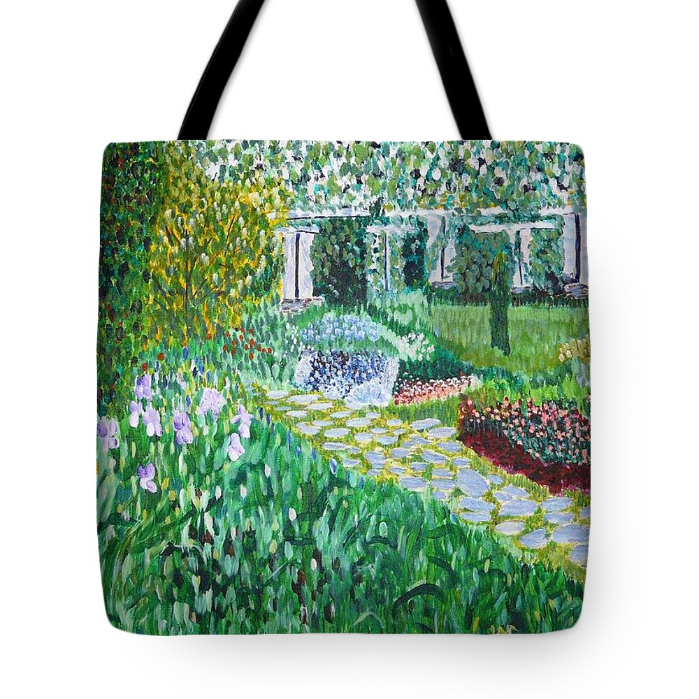 Landscape Tote Bag featuring the painting Tete D'or Park Lyon France by Valerie Ornstein