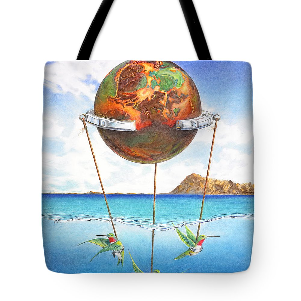 Surreal Tote Bag featuring the painting Tethered Sphere by Melissa A Benson