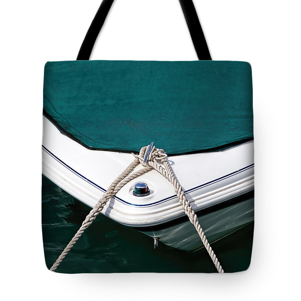 Boat Tote Bag featuring the photograph Tethered by Susie Peek