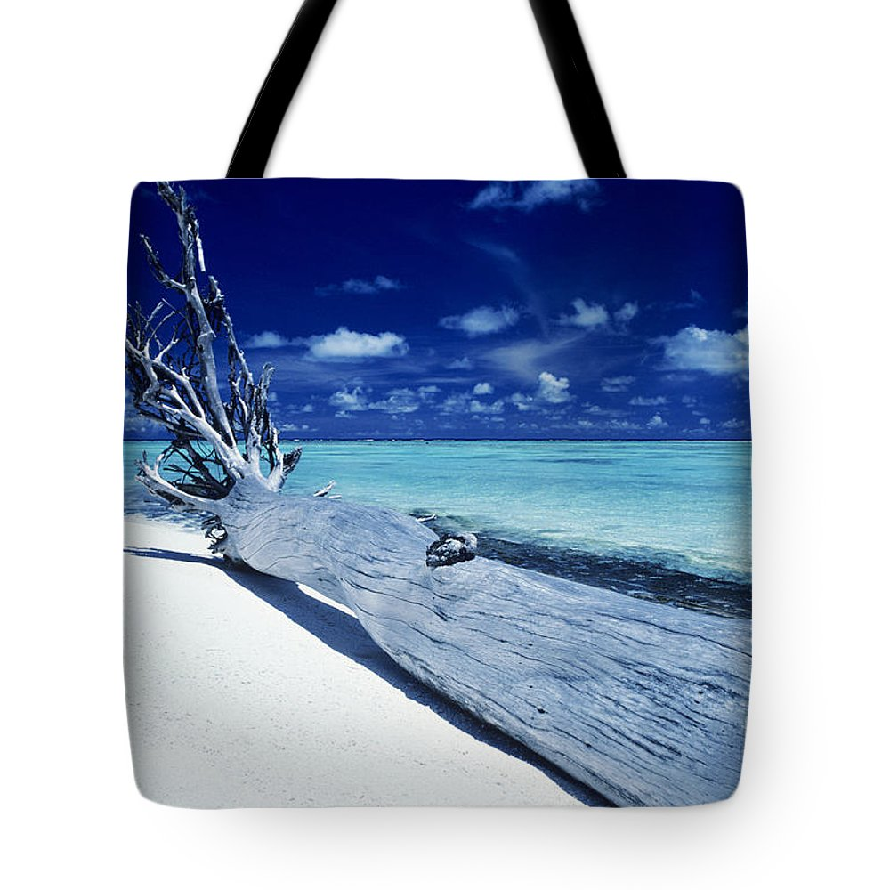 Ashore Tote Bag featuring the photograph Tetiaroa Driftwood by Larry Dale Gordon - Printscapes