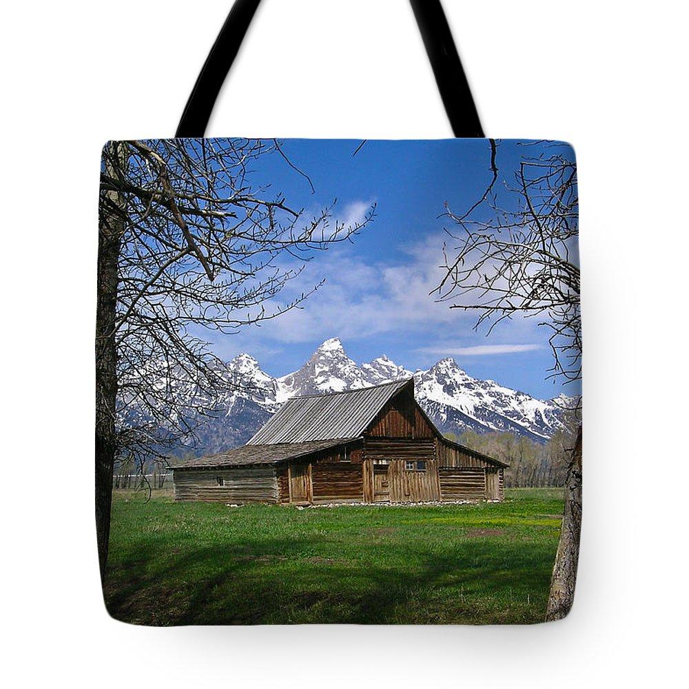 Teton Tote Bag featuring the photograph Teton Barn by Douglas Barnett