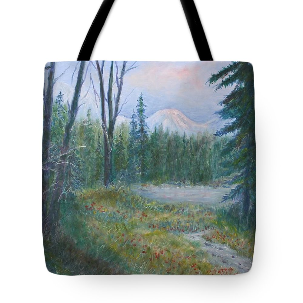 Landscape Tote Bag featuring the painting Teton Valley by Ben Kiger