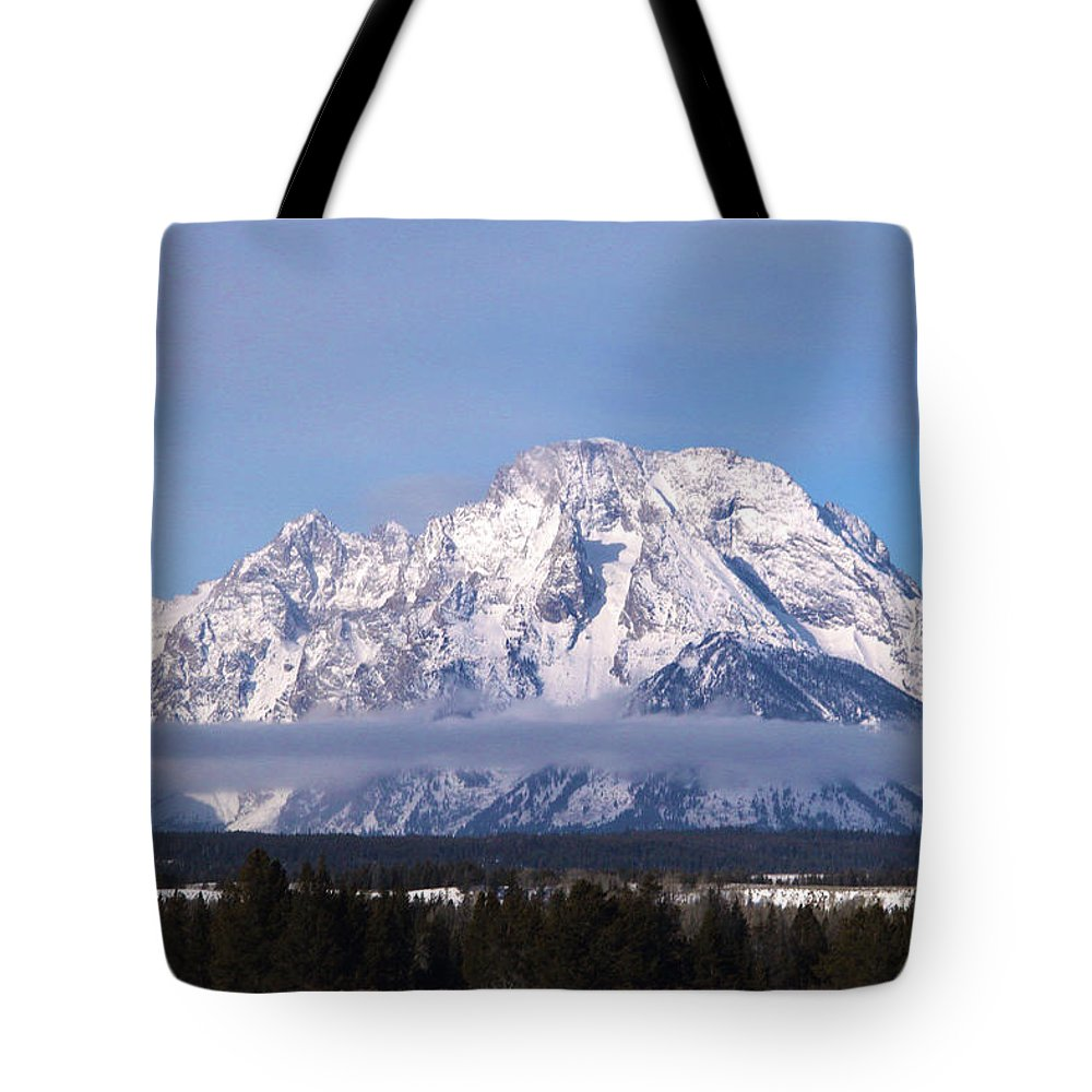 Grand Teton National Park Tote Bag featuring the photograph Teton Winter 4 by Marie Leslie
