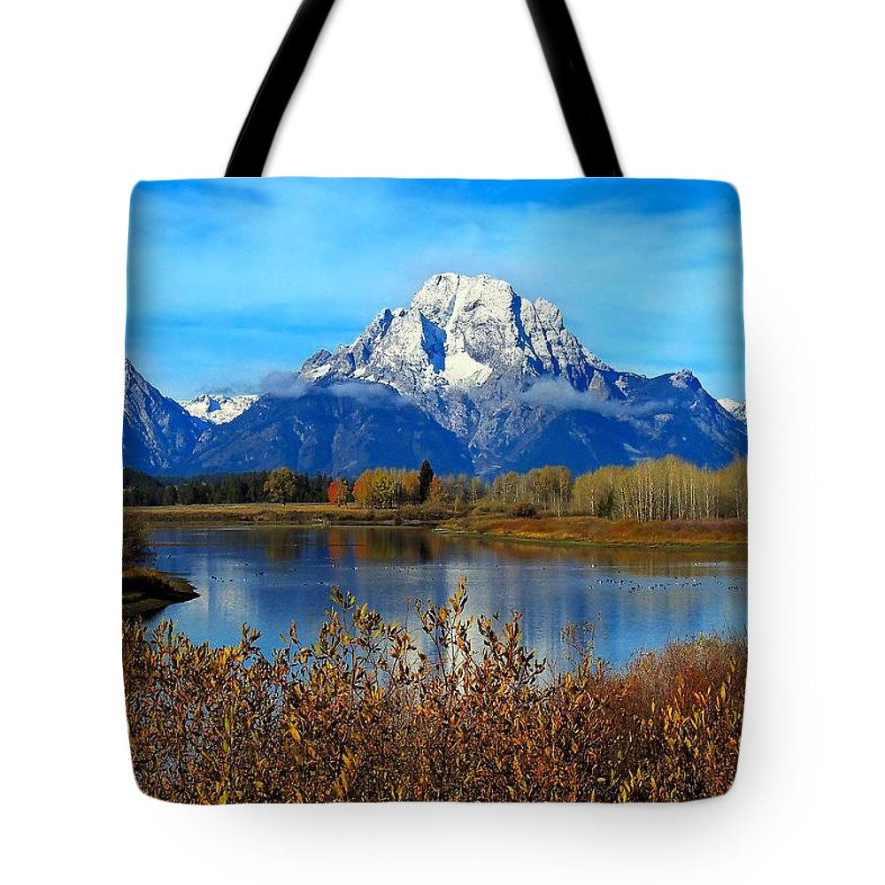 Landscape Tote Bag featuring the photograph Tetonic Fall by Laura Ragland