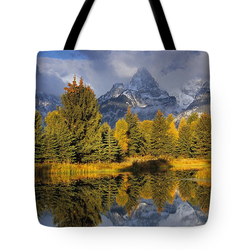 Scenic Tote Bag featuring the photograph Tetons And Schwabacher Pond by Doug Davidson